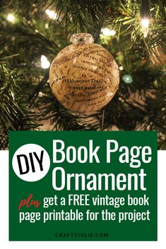 Learn how to make your own vintage inspired book page ornament. Plus get a free book page printable to use on your project. Pallet Christmas Tree, Plaid Christmas, Christmas Bulbs, Christmas Stuff, Christmas Ideas, Christmas On A Budget, Holiday Fun, Holiday Money, Outside Christmas Decorations