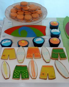 Cookies at a beach surfing  birthday party! See more party ideas at CatchMyParty.com!