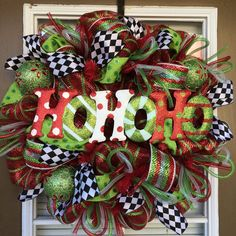 Ho Ho Ho Mesh Christmas Wreath by SouthernWreathDesign on Etsy