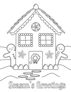 Christmas Gingerbread House And Two Man Side By SideColoring Page