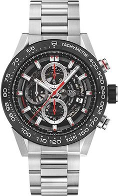 Tag Heuer Carrera stainless steel and ceramic chronograph watch Tag Heuer Carrera Chronograph, Tag Heuer Carrera Calibre, Elegant Watches, Beautiful Watches, Casual Watches, Best Watches For Men, Cool Watches, Popular Watches, Skeleton Watches