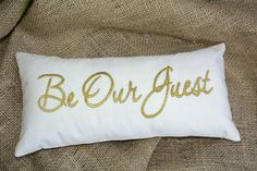 Be Our Guest pillow SALE Pillow Gold Embroidered Guest Room by NeaPillows Guest Bedroom Decor, Guest Room, Condo Bedroom, Modern Decorative Pillows, Valentines Sale, Gold Pillows, Pillow Room, Welcome Gifts, Christmas Pillow