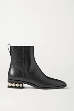 Shoes Boots Ankle, Black Ankle Boots, Leather Ankle Boots, Black Leather, Nicholas Kirkwood Shoes, Embellished Heels, Designer Boots, Stella Mccartney, Chelsea Boots