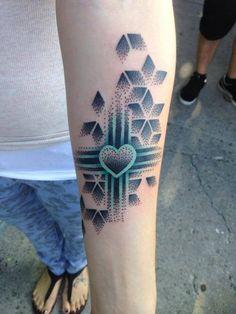 Dotwork zia tattoo by Sam Castro at Ascension Body-Mod Tattoo/Piercing in Albuquerque, New Mexico