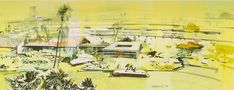 Concept Arts - The Original E.P.C.O.T. A residential housing area served by a PeopleMover line. Herbert Ryman. Opaque watercolor, pen, colored pen, colored pencil, and varnish on board. 8 x 19. 1966.