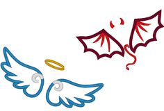 Little Angel and little devil wings applique and fill by artapli, $3.99