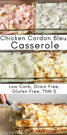 This Chicken Cordon Bleu Casserole is quick and easy. It has shredded chicken, ham, and swiss in a creamy dijon sauce. It is low carb, grain free, & THM S. via /joyfilledeats/