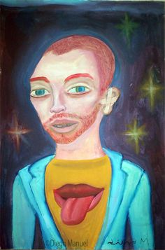 Van Gogh fan de Rolling Stones, acrylic on canvas, 30 x 45 cm. Pintura en venta de la Serie Retratos. Painting for sale of the Series Portraits.