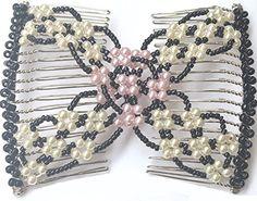 Lovef Elastic Double Combs Handmade Beaded Flower Hair Cl...