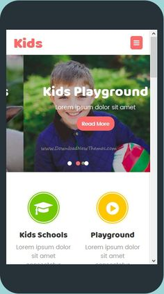 Kids is a multipurpose #Mobile #Templates consists of five home page kids, schools, care, play and store websites download now➩ https://themeforest.net/item/kids-multipurpose-mobile-template/19263118?ref=Datasata