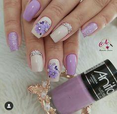 Aycrlic Nails, Colorful Nail Designs, Flower Nails, Manicure And Pedicure, Nail Colors, Nail Art, Esty, Nara, Gold Nails