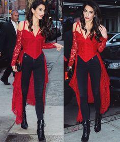 in a vintage corset 👍🏼or👎🏼? Amal Clooney, Catwalk, Corset, Jumpsuit, Punk, Leather Jacket, Blouse, People, Jackets