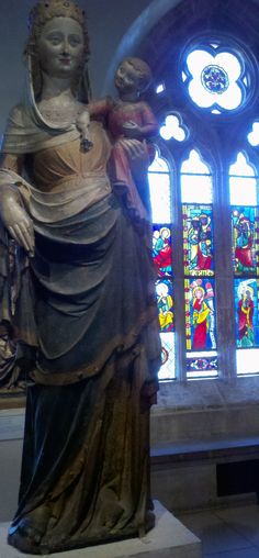 From our field trip to the Cloisters: Gothic style French Madonna statue, Cloisters Museum in NY.