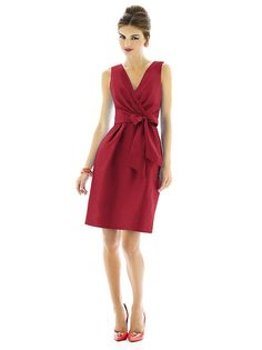 Cocktail length surplice v-neck sleeveless dupioni dress w/ set in ties at natural waist.  Pockets at side seams of a-line skirt. Dress also available full length as style D596. Sizes available: 00-30W, and 00-30W extra length.   http://www.dessy.com/dresses/bridesmaid/D595/