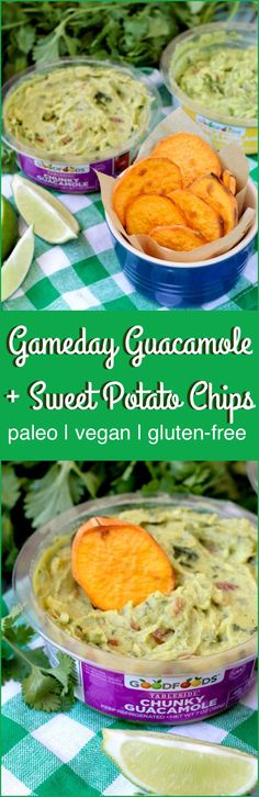 Gameday Guacamole with Sweet Potato Chips is the perfect healthy snack to cheer on your team!
