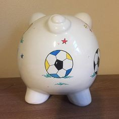 Personalized Boys Sports Piggy Bank Piggy Banks, Paint Designs, Initials, Hand Painted, Ceramics, Boys, Biscuit, Decoupage, Sports