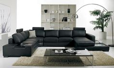 Cozy Black Leather Sofas For Elegant Living Room : Elegant Black Leather Sectional Sofa Design Integrated with Small Coffee Table for Stylish Look Living Room Design Sofa Design, Sofa Set Designs, Black Leather Sofas, Leather Sectional, Bonded Leather, Black Sectional, Modern Sectional, Sectional Sofas, Modern Sofa