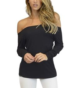 Another great find on #zulily! Black Ribbed Off-Shoulder Top #zulilyfinds