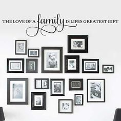 living room wall frames - Set of 12 Family Quote Words Vinyl Wall Sticker Picture Frame Wall Family Room Art Decoration (Matte Black) living room wall decor over couch Stencils. Find out more at the image link. Family Pictures On Wall, Family Wall Quotes, Family Wall Decor, Family Tree Wall Decal, Room Wall Decor, Living Room Decor, Family Room, Wall Of Quotes, Family Wall Collage