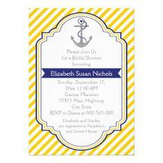 Anchor yellow white nautical wedding bridal shower cards