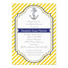 Anchor yellow white nautical wedding bridal shower cards