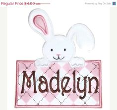 ON SALE 30% OFF Easter Bunny Box Machine Embroidery Applique Design