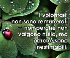 Citazione del giorno: ❝ I volontari non sono remunerati non perché non valgono nulla, ma perché sono INESTIMABILI.❞