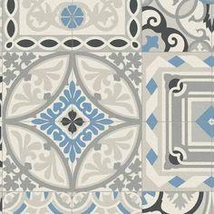 vintage morrocan lino flooring blue white tile - Google Search