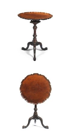 A George III mahogany tripod table The piecrust top with birdcage action on an inverted baluster column carved with double whorls, the cabriole support with rocaille and acanthus carved knees and similarly carved feet - Dim: 54cm diam x 65cm high (21 1/2in diam x 25 1/2 in high)