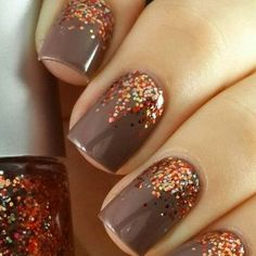 Thanksgiving-Nail-Art-Ideas fall nail art autumn, nails for autumn, Fancy Nails, Love Nails, How To Do Nails, Pretty Nails, My Nails, Sparkle Nails, Nails 2017, Polish Nails, Glittery Nails