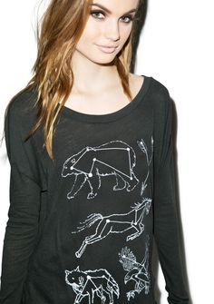 Wildfox Couture Constellations Runaway Long Sleeve Tee   Dolls Kill