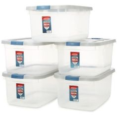 Rubbermaid 1785784 Clear Roughneck Storage Tote Box, 50-Quart, Case of 5