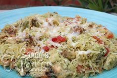 Sandy's Kitchen: Spaghetti Squash with Chicken and Pesto.  This was delicious.  I think it's easily my new favorite way to enjoy Spaghetti Squash.  I also love her method for cooking the Squash in the microwave.  YUM!  -sally