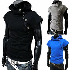 Purchase Hot Sale Mens Sleeveless Hoodie Man's Casual Crewneck Solid Sudaderas Special Pullover Short Sleeve Chandal Hombre from on OpenSky. Share and compare all Apparel. Sleeveless Hoodie Men, Short Sleeve Hoodie, Stylish Shirts, Stylish Men, Revival Clothing, Casual Wear For Men, Mens Fashion, Fashion Edgy, Fasion