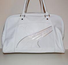 Vintage White Puma Duffle Bag Gym Bag by founditinatlanta on Etsy, $80.00