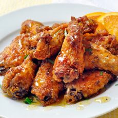 For Super Bowl-- Oven Baked Southern Fried Chicken Wings with Orange Honey Drizzle