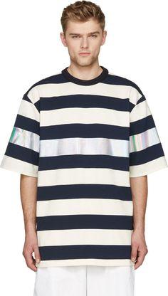 Juun.J Navy & White Metallic Stripe Oversize T-Shirt