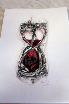 Hourglass and skull