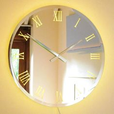 Wall Clock Light, Mirror Wall Clock, Led Mirror, Wall Lights, Clock Movements, Statement Wall, Back Plate, Centre Pieces, Polished Chrome