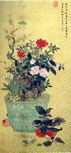 Ch'en Shu  - (1660-1736),  Qing Dynasty                                                     Ch'en Shu  was a native of Hsiu-shui in Chekiang Province.  She was  noted for her paintings of flowers, birds, insects and grasses and  landscapes.  Her brush was strong ahd vigorous and possessed the  spirit of the antique. This scroll was painted when she was 75 years  old.                                                    New Year's Day  (1735)                          ink and colors  on paper