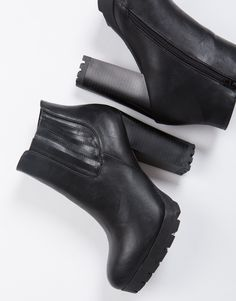 Lug Platform Ankle Boots - Black Boots - Heel Boots - Leather – Shoes – 2020AVE
