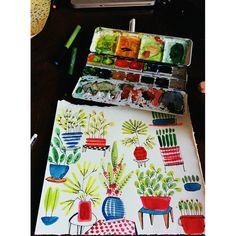 Vacances à l'aquarelle  #illustrator #illustration #plants #indoorplants #home #holiday #drawing