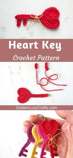 Crochet heart key applique, Key to My Heart, Valentine's Day crochet applique, free crochet pattern, All Free Crochet, Cute Crochet, Crochet Motif, Crochet Designs, Crochet Patterns, Crochet Hearts, Crochet Appliques, Crochet Wall Art, Applique Tutorial