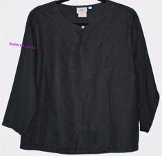 HOT COTTON Black Linen Blend Blouse Tunic Boho 3/4 Sleeves Marc Ware Shirt Top M #HotCotton #Blouse #Versatile