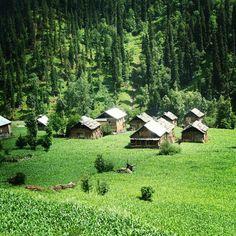 Beautiful wooden houses in Neelum Valley Kashmir, Pakistan