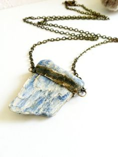 Kyanite Crystal Necklace Blue Crystal Pendant Semi by Mystarrrs