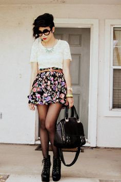 Cream Lace Lounie Top  Black Floral Print Forever 21 Skirt  Turquoise Blue Pointed Lylif Necklace  Tawny Skinny Belt Thrifted Vintage Belt  http://tinyurl.com/7wkhbzd