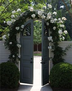 Gate and arbor covered with white roses...charming!.