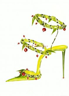 Manolo Blahnik fashion illustration to frame featuring 'Dilé', a botanical shoe w/tresses of and garlanded with leather, and red beads .. in my shop now!