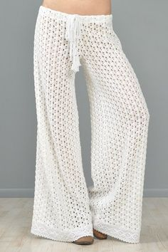 Crochet Pants Pattern Free | ... CROCHET sheer lace PALAZZO bell bottom hippy boho cutout dress PANTS
